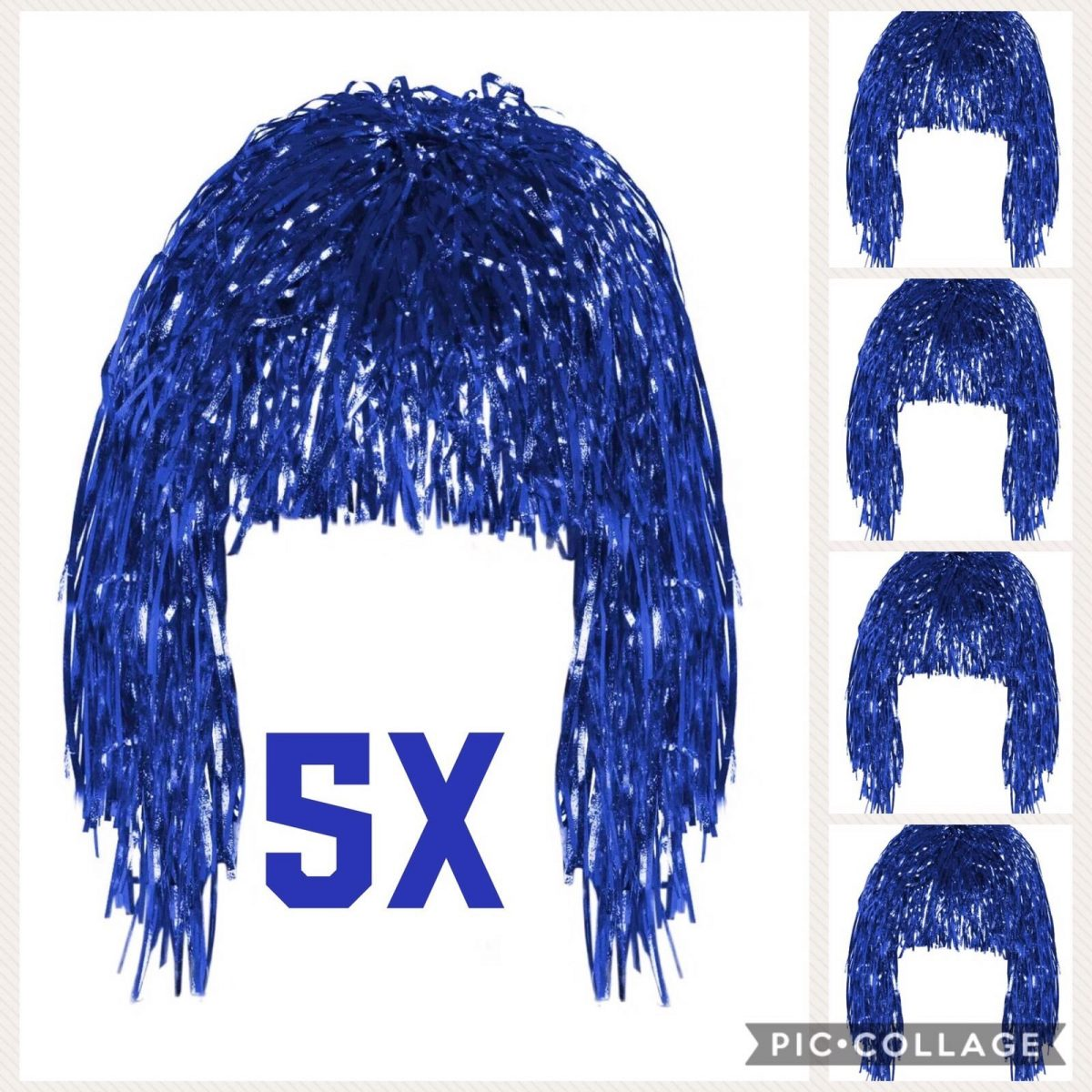 Red Tinsel Wig Costume Accessory Fancy Dress Metallic 70/'s 80/'s
