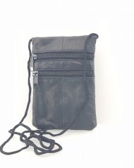 Black Lorenz Genuine Soft Leather Travel Neck Passport Holder Pouch & Purse
