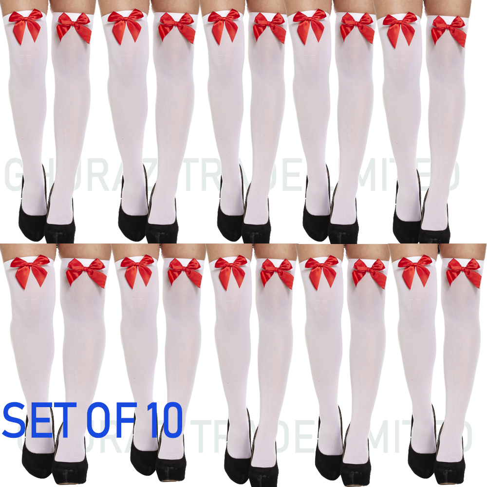 038be6c6db6 10X White Ladies Over Knee Hold Up Stockings With Red Bow Thigh High Socks