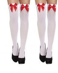 White Ladies Over Knee Hold Up Stockings With Red Bow Thigh High Sock