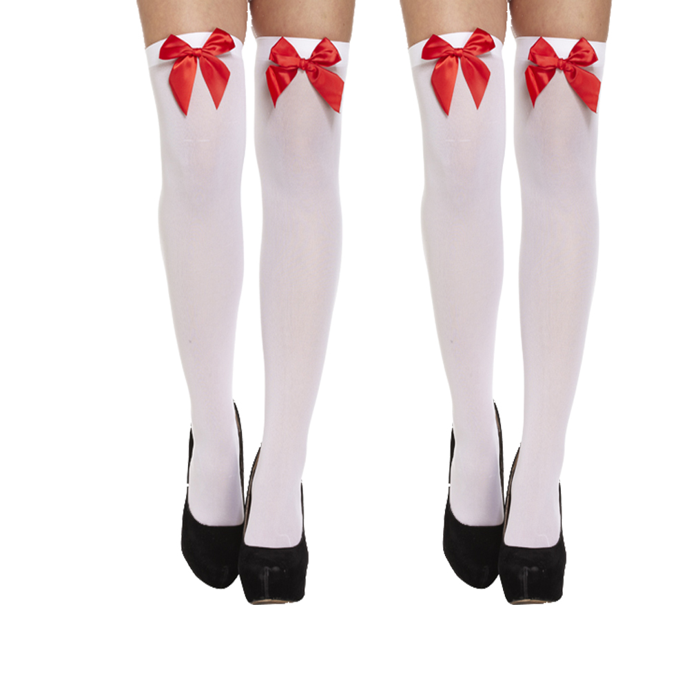 d9c268e1e7d 2X White Ladies Over Knee Hold Up Stockings With Red Bow Thigh High ...