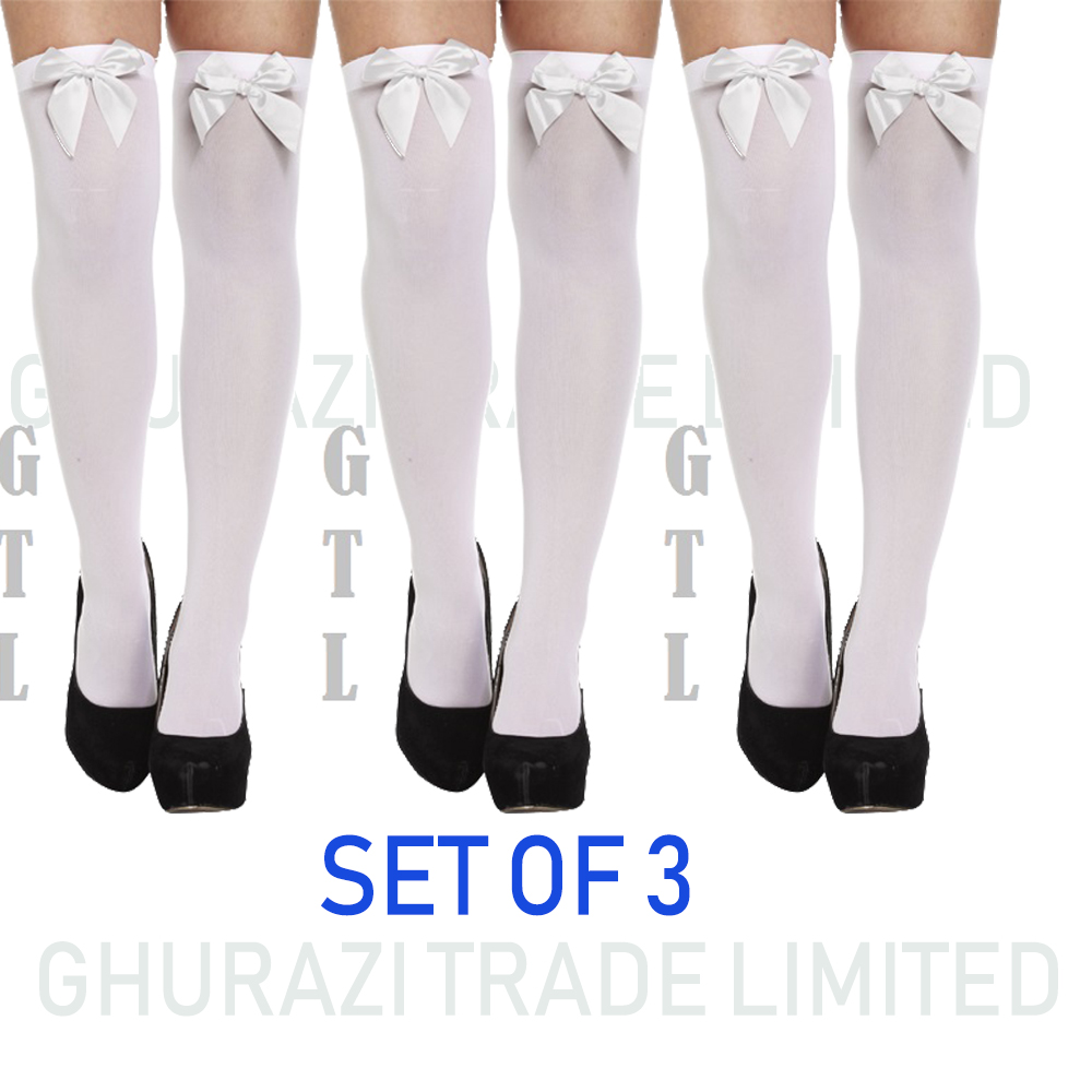 b3c3caa1dbe9d 3X White Ladies Over Knee Hold Up Stockings With White Bow Thigh High Socks