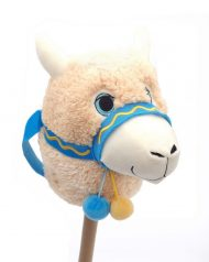 Hobby Horse Traditional Kids Riding Toy Alpaca Llama Plush Head Wooden Stick