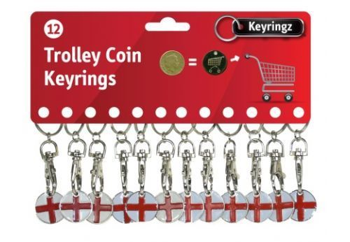 2 PACK YING YANG DESIGNER ONE POUND COIN TOKEN KEYRING SHOPPING TROLLEY NEW